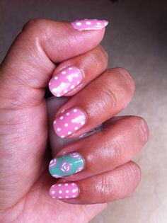 Vintage rose+polka dot nail art