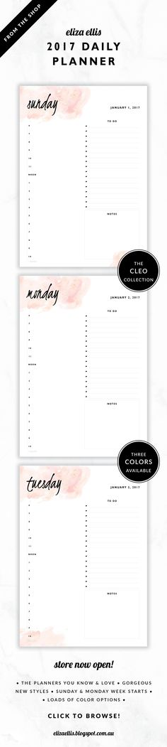 2017 Printable Day to a Page Planner // The Cleo Collection by Eliza Ellis. Gorgeous watercolor and handwritten type design. Includes appointments times, notes section and to do list. Bonus matching planner covers and annual calendar included. Available in 3 colors – fairyfloss, nimbus and sherbet. Monday and Sunday week starts included. Documents print to A4 or A5.
