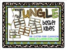 BASKET LABELS for a JUNGLE ~ SAFARI CLASSROOM THEME. Oh, how I love when things are labeled and organized. These adorable printables were designed with labeling baskets in mind, but you can use them just about anywhere. They feature patterns and images to compliment your theme. They labels are a rounded rectangle shape and fit well on baskets, dishpans and shoeboxes.
