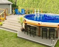 Above Ground Pool Landscaping, Above Ground Pool Decks, Backyard Pool Landscaping, Backyard Pool Designs, In Ground Pools, Diy In Ground Pool, Diy Landscaping Ideas, Rectangle Above Ground Pool, Above Ground Swimming Pools
