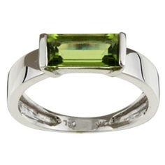 14k White Gold Baguette Peridot Ring