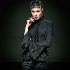 Punk new products personalized patchwork bandage black long-sleeve lace blouse female