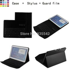 For Samsung Galaxy Tab 4 10.1 inch T530 Tablet 3-in-1 Bluetooth QWERTY Keyboard Portfolio Stand Case - Detachable ABS Keyboard