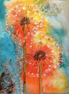 Watercolor dandelion puffs