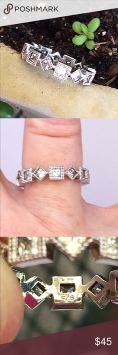 Sterling silver CZ eternity band Gorgeous vintage look eternity band made of .925 sterling silver and high grade cz. Jewelry Rings