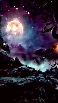 By Artist Unknown. Beautiful Nature Wallpaper, Beautiful Moon, Beautiful Landscapes, Galaxy Wallpaper, Wallpaper Backgrounds, Fantasy Landscape, Fantasy Art, Galaxy Art, Anime Scenery