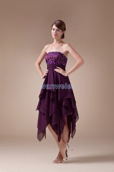 Mesmerizing Sheath Strapless Knee-length Chiffon Lavender Party Dress with Appliquess(ZJ6020)
