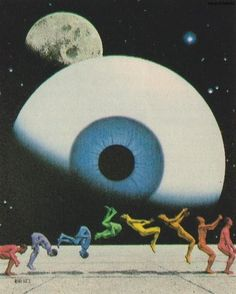 :: surreal contemporary collage art print ...looking at the moon , the stars and the human race...great symbolism of solar system , universe , creation, rainbows and the connection of all things cool geek, sci fi chic art for living room