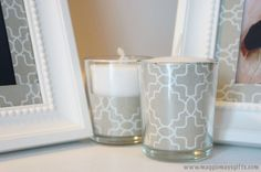 Cheap way to decorate that looks great!  Repurposed Kleenex Box for Decorated Frames and Candles
