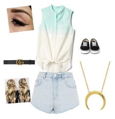 """""""Female beachy island outfit"""" by crayshark on Polyvore featuring Topshop, Gucci and Gap"""