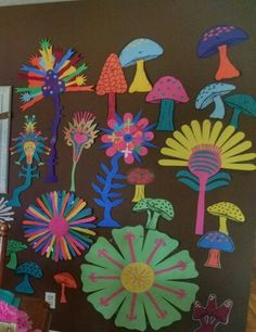 Journey off the map flowers & mushrooms. Made by cutting construction paper