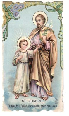 "Holy Card Antique made in Italy ""St-Joseph'"" Patron de l'Eglise Universelle"