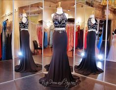 Crop Top Two Piece Prom Dresses are all the rage in 2015. This amazing two piece features a completely beaded and sweetheart illusion neckline. The jersey knit floor length skirt is a bias cut and trimmed at the waist with matching beadwork. Just stunning and ONLY at Rsvp Prom and Pageant, Atlanta, GA