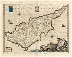 The island of Cyprus by  Willem Janszoon Blaeu c.1640 Barry Lawrence Ruderman Antique Maps Inc.