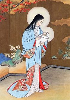 Vintage Japanese Madonna Christmas Greeting Card - Carmel, Tokyo, Japan - Mother and Child Catholic Art, Religious Art, Vintage Japanese, Japanese Art, Japanese Style, Japanese Christmas, Religious Christmas Cards, Mama Mary, Blessed Mother Mary