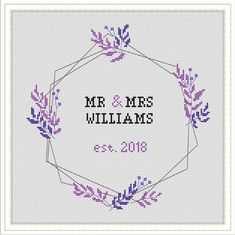 Custom Wedding Cross Stitch Pattern for Couple Mr Mrs sign Modern Gifts Wedding Embroidery Wedding DIY keepsake Cross stitch sampler Cross Stitch Alphabet Patterns, Wedding Cross Stitch Patterns, Cross Stitch Letters, Cross Stitch Bookmarks, Cross Stitch Samplers, Modern Cross Stitch Patterns, Cross Stitch Animals, Cross Stitch Designs, Cross Stitches