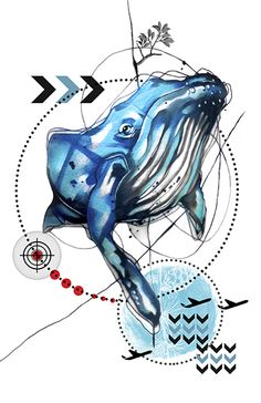 Fine art print of Blue Whale from my new line called RemixIT Design....a collaboration of my tattoo work remixed with digital illustrations from my partner-in-art, T.A.D.pole. It can be purchased at my website at:   http://www.ivanatattooart.com/print-store.html  or use this link for the open stock pieces:  http://www.ivanatattooart.com/Open-Stock-Shopping-Cart.html