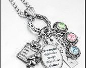 Customized Mothers Necklace, Name of Children, Birthstone Necklace, Mom Jewelry, Grandmother Jewelry, Mom Necklace, Birthstones
