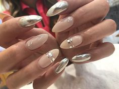Silver and nude almond nails