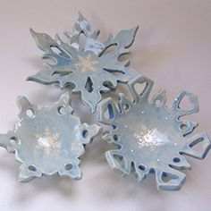 Amazon.com: set of 3 pottery Snowflake Candle Holder or soap dish Winter Decor: Handmade