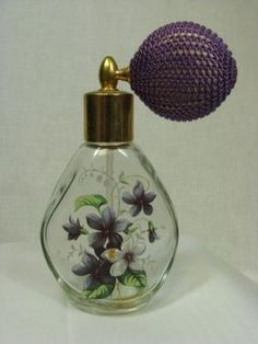 Perfume Bottle with Violets and Atomizer by cristina