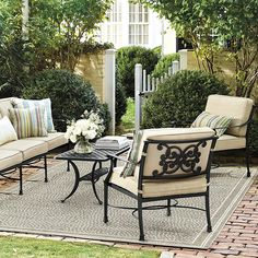 Get this new Amalfi Outdoor Lounge Chairs With Cushions Set of 2 and perfect your garden and patio season. Shop Ballard Designs and love relaxing outdoors! Small Patio Ideas On A Budget, Patio Decorating Ideas On A Budget, Porch Decorating, Decor Ideas, Outdoor Garden Furniture, Rustic Furniture, Antique Furniture, Furniture Ideas, Furniture Stores