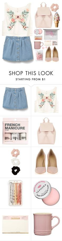 """""""flowers & leaves"""" by claripadula ❤ liked on Polyvore featuring MANGO, H&M, Mansur Gavriel, Forever 21, Giuseppe Zanotti, J.Crew, Sephora Collection, Kate Spade and Le Creuset"""