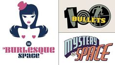 The Burlesque Space, 100 Bullets and Mystery in Space. From the book Logo- a-go-go by Rian Hughes. #RianHughes #handlettering #customLettering #lettering #koreropress #logoagogo
