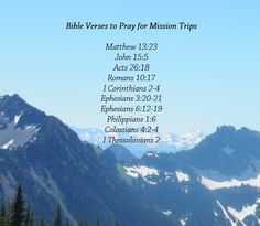 Bible Verses to Pray to prepare for a Mission Trip