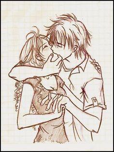 pencil sketch of couple