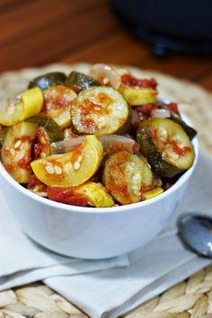 Stewed Zucchini and Summer Squash ~ an easy, tasty, freezer friendly way to enjoy the summer squash bounty.    www.thekitchenismyplayground.com