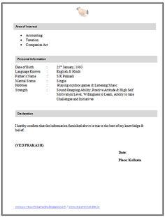 Resume Format For Company Secretary Articleship