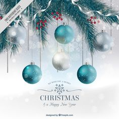 Fir background with baubles in realistic style Free Vector