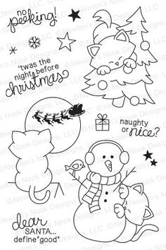 Newton's Curious Christmas | Digital stamps Digi stamps Clear stamps Christmas Night, Christmas Cats, Colouring Pages, Coloring Books, Doodles, Winter Cards, Holiday Activities, Doodle Drawings, Digi Stamps