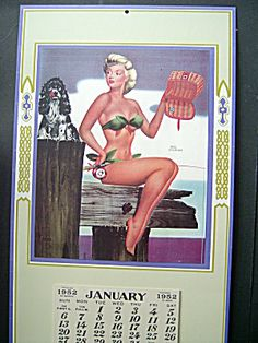 Bill Layne Pin Up Calendar, 1952 Fishing