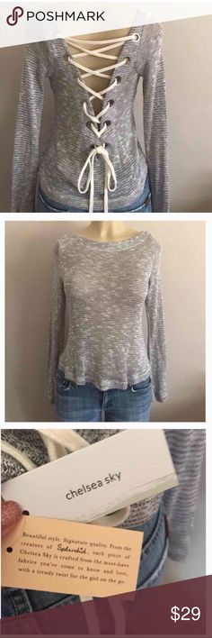 🔆Gray Lace-Up Winter Must Have🔆 Fairly lightweight gray marled lace up the back sweater material........gorgeous, lots of compliments 👍💕 Splendid Tops