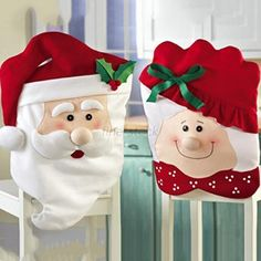 I would use these on the head chairs and then cute Elf Hats (which I cannot find) on the other chairs.  Or even Santa hats would be cute.  11.07.15  -  - HOT Xmas Mr&Mrs Santa Claus Christmas Dining Dinner Table Chair Back Cover Decor #Unbranded