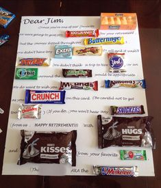Who wouldn't love a candy bar poster or card? Not only are candy bar gift cards amusing, they're also yummy. For some reason candy and a note really does say a lot and make great gifts. Candy Bar Cards, Candy Bar Gifts, Retirement Gifts For Men, Retirement Parties, Retirement Ideas, Teacher Retirement, Retirement Quotes, Diy Retirement Cards, Retirement Pictures