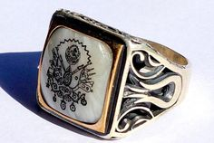 925 Sterling Silver Men's Ring with Totally Handmade Real