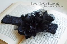 Black Lace Flower Headband with Russian Netting-Vintage Black Lace Headband with Russian Netting-infant-child-adult