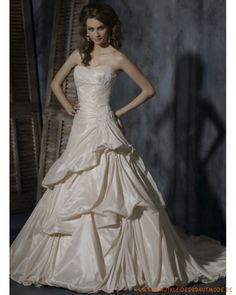 2013 Luxuriöse Brautmode Herzförmiger Ausschnitt Spitzeverziertes Korsett und asymmetrischer aplissierter bodenlanger Rock mit Schleppe