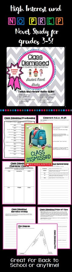 Print and GO!  Novel study guide for Class Dismissed by Allan Woodrow!  Your students will LOVE this book!