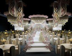 yangxu lin on Behance Wedding Stage Backdrop, Wedding Stage Design, Wedding Stage Decorations, Wedding Designs, Wedding Ideas, Table Decorations, Indian Wedding Receptions, Wedding Mandap, Wedding Table