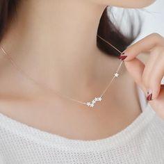 Jisensp New Arrival Silver Color Zircon Star Pendants&Necklaces Jewelry for Women SYXL053