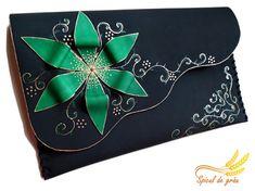 Green flower clutch purse Black leather clutch by spiculdegrau