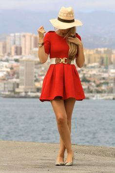 This red dress is so cute. I love the accessories...they really accentuate the dress nicely.