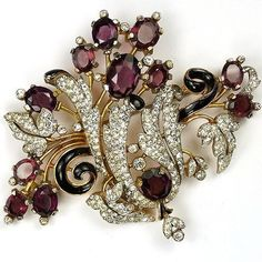 Trifari 'Alfred Philippe' Gold Black Enamel Pave Leaf Swirls and Amethysts Giant Floral Spray Pin