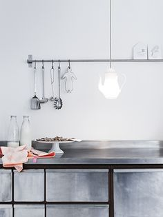 ♥stainless steel kitchen counter, rail, drawers, industrial chic; modern, white, rustic