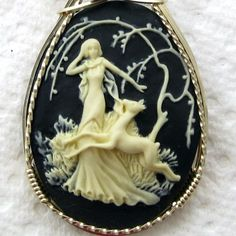 Lady Deer Cameo Pendant 14K Rolled Gold Black Onyx Jewelry