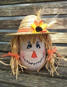 Mrs. Scarecrow Mason Jar...mason jar, paint, wicker hat, ribbon. sunflower, wheat and raffia grass for hair. ~ Fall, Autumn, Home Décor, DIY, Nailed It
